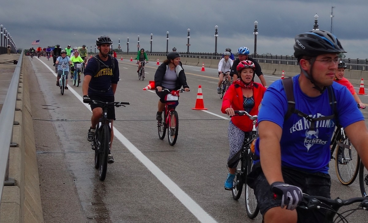 Cyclists crossing the Belle Isle Bridge in Detroit