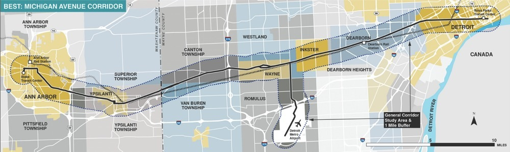 Map showing the Michigan Avenue corridor study area between Detroit and Ann Arbor