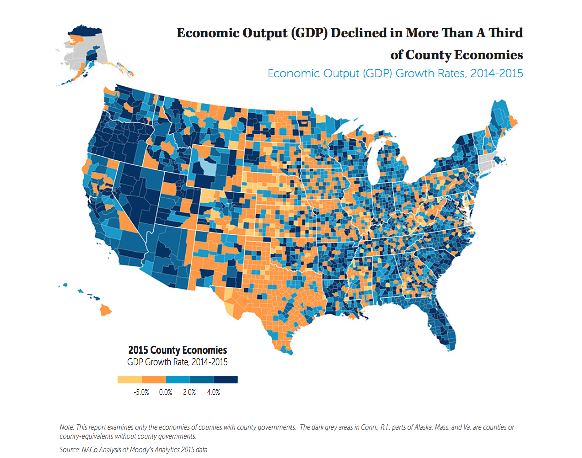 Economic Output (GDP) Growth Rates, 2014-2015